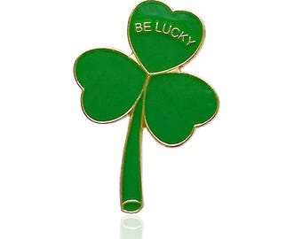 Pack 10 x BE LUCKY Gold Plated Irish Shamrock Lapel Pin Badge St Patrick's Day 2018