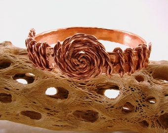Copper Wire Wrapped with Twisted Copper Bracelet