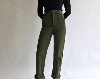 Vintage 26 27 28 29 Waist Slim Olive Green Army Pants Trousers | 80s Utility Fatigues | OG 107 Patch see Size RUN