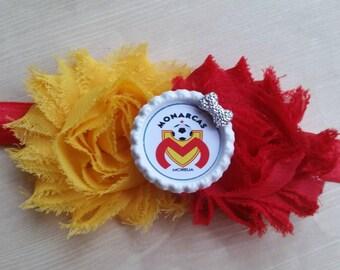 Monarcas Morelia headband. Shabby chic. Soccer headband! newborn baby toddler infant girl teen adult