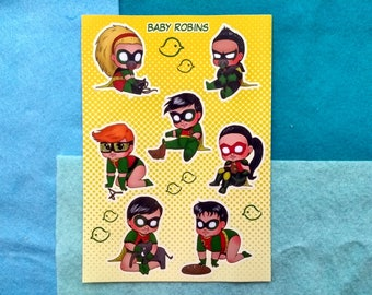 Baby Robins - Sticker Sheet - 7 stickers