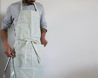 Chef's apron, Large apron, striped apron, mens apron