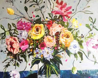 Floral Abstract Still Life Painting in pink, peach, yellow, gray, blue