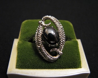 """Vintage 1971 Sarah Coventry """"Ebb Tide"""" Silver Tone and Marcasite Hematite Swirled Adjustable Cocktail Ring"""