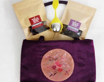 Exclusive Purple Tea Set with Oriented Bag