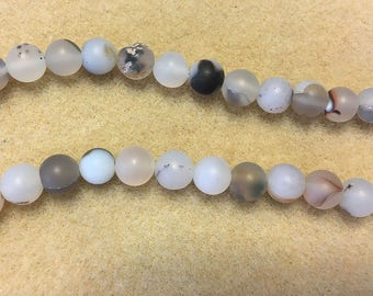 Clearance White Agate with Gray 6mm Matte Rounds 8 inch Strand Approx 32 beads