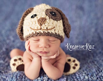 Baby Boy Hat PUPPY LUV Newborn Baby Boy Crochet Doggy Hat and Paws Booties Dog Hat Slippers Doggy outfit set Costume