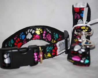 "TheNeon Paws collar  and Leash set  collar is 1"" wide webbing "" leash 60"" length"