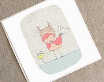 """Carré carte de voeux - lapin rose oiseau - 5,9 x 5,9"""" ou 150 x 150 mm"""