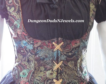 DDNJ Fully Reversible Underbust Corset Style Bodice You Choose Fabrics Plus Custom Made ANY Size Pirate Gypsy Witch Vampire Lolita Steampunk