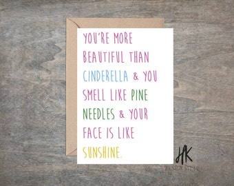PRINTABLE: 5x7 You're More Beautiful Than Sunshine Card/Galentine's Day Card/BFF Card/Valentine's Day Card/Bridesmaids Quote