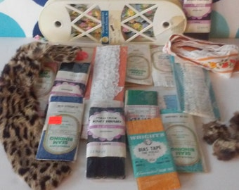Vintage Sewing Accessories- Rick Rack, Bias Tape, Seam Binding, Trim, Faux Fur Collar and Buttons