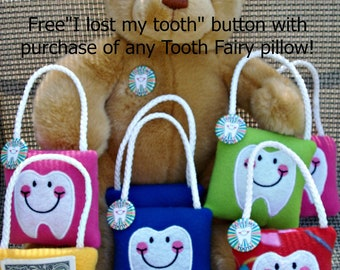 3 Personalized Tooth Fairy Pillow, plush,embroidered comes with Lost my Tooth button