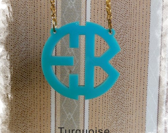 Two Initials Monogram Necklace - Circle Monogram Name Acrylic Monogram Jewelry - Turquoise Necklace