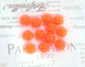 12 Neon Orange Rose Cabochon Neon Orange Flower Cabochon 11mm Rose Cabochon Earring Supplies