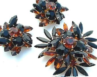 Signed Judy Lee Huge Starburst Autumn Fall Rhinestone Jewelry Set Women Gifts