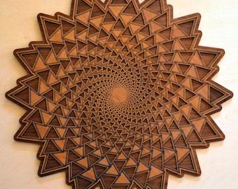 Organic Spiral Vortex Laser Cut Wall Art - Yoga Focus Meditative Meditation Fibonacci Golden Spiral Sacred Geometry Conscious Symbol