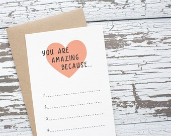 You Are Amazing List - Notecard