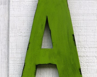 """Large Rustic Wooden Letter A Distressed Painted Citrus Green 12"""" tall Wood Name Letters, kids Room Decor"""