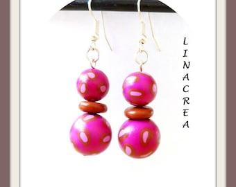 Cheetah Fuchsia and Brown polymer clay earrings