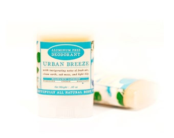 Urban Breeze Travel Size Deodorant - All Natural & Aluminum Free Deodorant - Masculine - Clean Earth, Moss, Fresh Air