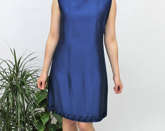 1960s Rich Blue Shift Dress Size UK 12/14, US 8/10, EU 40/42