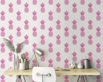 Cute Pineapple Wallpaper/ Pink fruit Removable Wallpaper/ Self-adhesive Wallpaper / Pineapple Pattern Wall Covering - 146