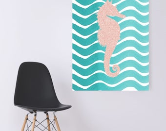 WATERCOLOR- Pink Seahorse on Turquoise Waves -Digital Wall Art