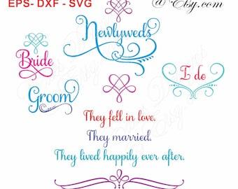 SVG Wedding Marriage Phrases Digital Download EPS DXF