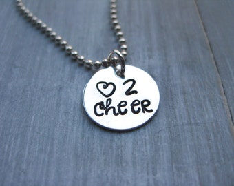 Cheer Necklace Sterling Silver Cheerleader Necklace Personalized Jewelry Hand Stamped Cheerleader Gift Cheering Jewelry Gift for Teen Tween