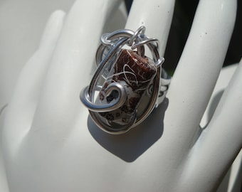 Brown and silver, aluminum silver wire, Adjustable ring, wedding