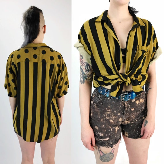 80's Mixed Prints Mustard Yellow & Black Short Sleeve Button Up Medium - Casual Polka Dot Striped Mixed Prints Button Front VTG Rayon Shirt