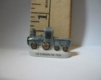 TRAIN Le Chemin de Fer  Locmotive- French Feve Feves Porcelain Figurines King Cake Baby Doll House Miniatures J14