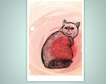 Trippy Exotic Shorthair Cat 5x7 Giclee Illustration Art Print, Home Decor, Drawing, Pets, Kitty, Catnip, Psychedelic, Pink, Stars