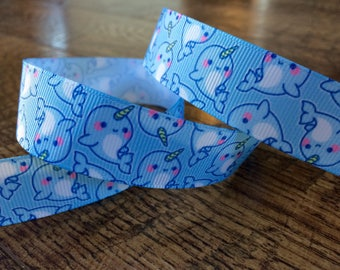 1 yard 7/8 narwhal ribbon.  Narwhal ribbon, narwhal grosgrain ribbon, craft, crafting, sewing, scrapbook, hairbows, narwhal