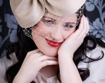 Ascot hat, Cream hat, 1950s hat, veiled hat, wedding hat, cream hat, mother of the bride
