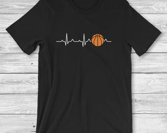 Basketball Shirt - Basketball Mom - Basketball Player Gift - Basketball Fan Clothing - Basketball Heartbeat Men and Women Unisex T-Shirt