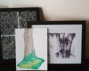 Tree Trunk in Ivy - Watercolor and Ink Illustration