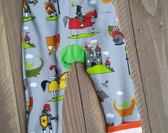 Baby Boy Pants Monster Bunz Cloth Diaper Knights Castles and Dragons on Grey Grow With Me Style  Maxaloone Style Baby Pants Orange Stripe
