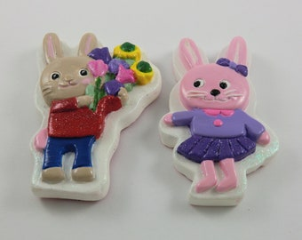 Set of 2, Boy and Girl Rabbit Magnet