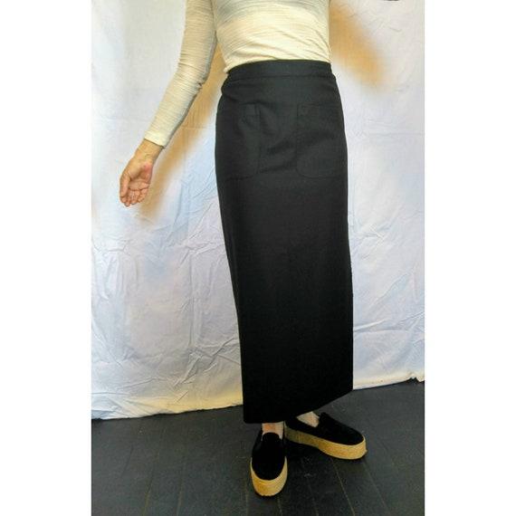 Superb Black Eskandar Cashmere Wool Maxi Skirt Oversized Front Pockets Miyake Plantation