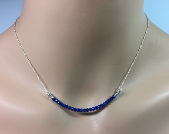 Lapis Gemstone Bar Necklace in Sterling Silver