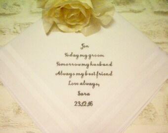 Groom Wedding Handkerchief, Personalised Embroidered Wedding Handkerchief, Wedding Hanky, Today my groom tomorrow my husband