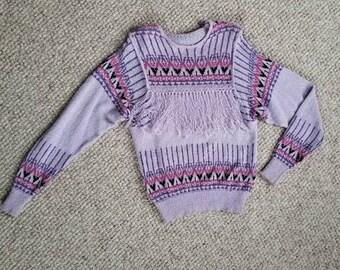 Ladies fringed vintage sweater,  small, lavender 80s