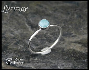 Larimar Skinny sterling silver ring, hammered, 5mm cabochon. Skinny ring, thin ring, stacking ring. December birthstone