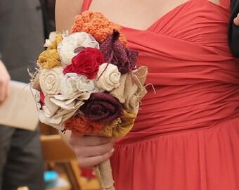 Fabric Flower Fall Bouquet - Handmade