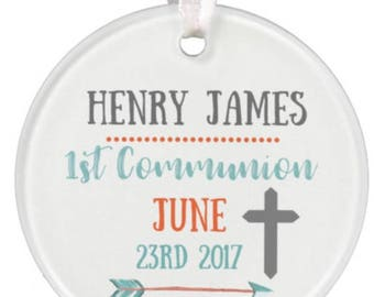 Personalized Ornament, Baptism Ornament, 1st Communion Gift, 1st Communion Ornament, Boys Ornament, Ceramic Ornament, Ryelle, Ornament
