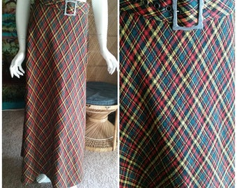 60's Plaid Maxi Skirt with Matching Belt & Metal Buckle by Junior House, Vintage Plaid Maxi Skirt, Plaid Skirt, Maxi Skirt, Holiday Skirt SM