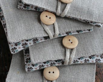 Small Linen Needle Book - Thread button