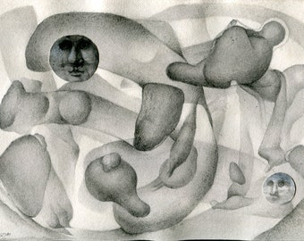 Original mixed media drawing - Untitled 140908